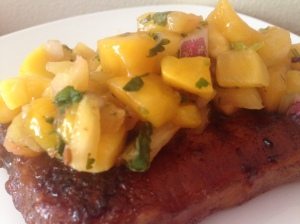 Pork with Mango, Pineapple Salsa
